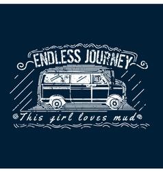 Truck t-shirt print design vector
