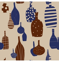 Wine bottles seamless background vector image