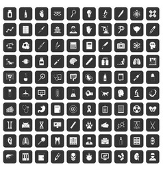 100 diagnostic icons set black vector