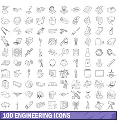 100 engineering icons set outline style vector