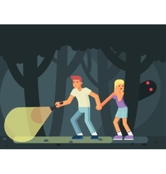 Couple of teenagers in the woods on halloween vector