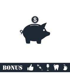 Pig money box icon flat vector