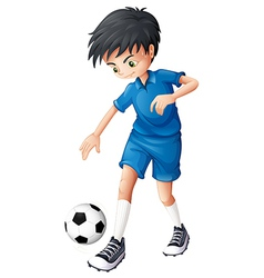 A soccer player in his complete blue uniform vector