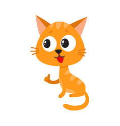 cute and funny red cat character sitting and vector image