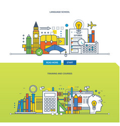 Concept - school language training and courses vector
