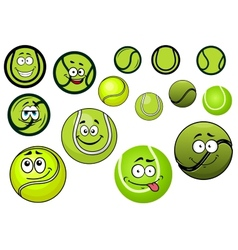Green tennis balls mascots cartoon characters vector