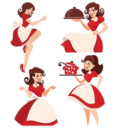 Retro cartoon housewife vector