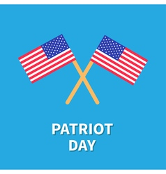 Two flags patriot day card flat design vector
