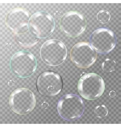 Set of white transparent glass sphere with glares vector
