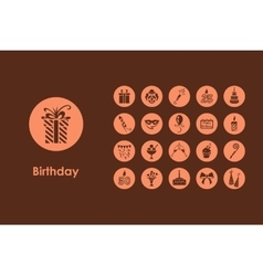 Set of birthday simple icons vector