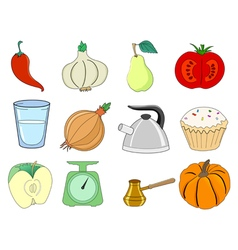Food related objects vector