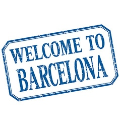 Barcelona - welcome blue vintage isolated label vector