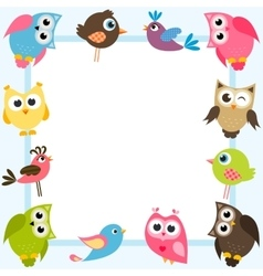 blue frame with colorful birds vector image