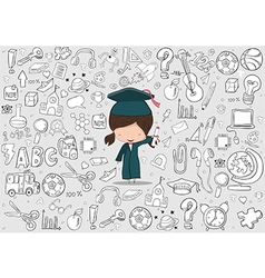 Girl graduated pupils education vector