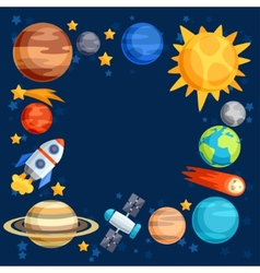 Background of solar system planets and celestial vector