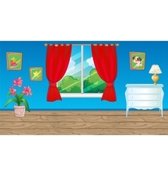 Blue room with red curtain vector
