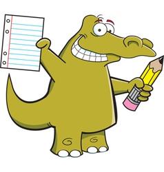 Cartoon student alligator vector