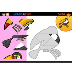 Cartoon toucan puzzle game vector image vector image