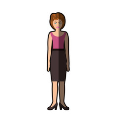 Colorful silhouette of woman with pink blouse and vector