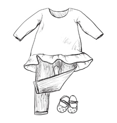 Drawing clothing for little girls vector