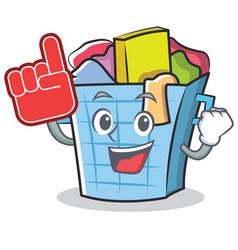 Foam finger laundry basket character cartoon vector