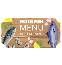 Fresh fish menu restaurant with sea products vector