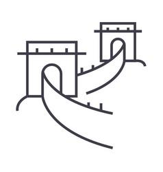 great wallchina line icon sign vector image
