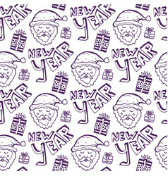 Happy new year doodle seamless pattern holiday vector