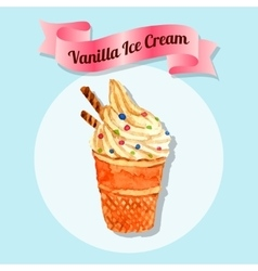 Ice cream water color vector