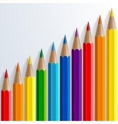 Infographic rainbow color pencils with realistic vector image vector image