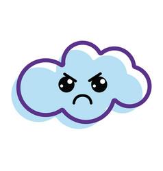 Kawaii angry cloud icon vector