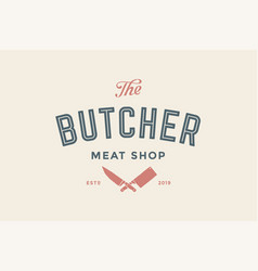 label of butchery meat shop vector image vector image