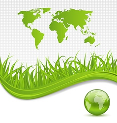 Nature brochure with global planet and grass vector image