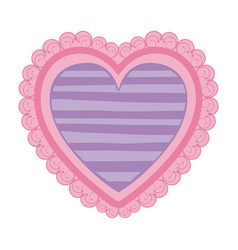 pink color heart shape decorative frame with lilac vector image vector image