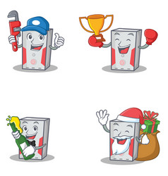 Set of computer character with plumber winner beer vector