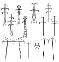 Silhouettes of pylons transmission line vector image