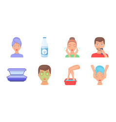 Skin care icons in set collection for design face vector