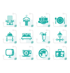 stylized hotel motel and holidays icons vector image