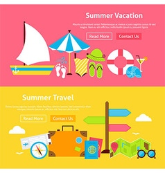 Summer travel vacation flat website banners set vector