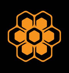 template for emblem with bee honeycombs vector image vector image