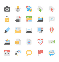 web design flat colored icons 3 vector image vector image