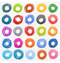 Circle form color brush stroke on white vector