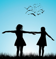 Two girls playing outdoor vector