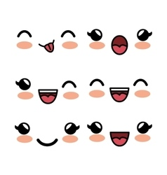 set kawaii facial expression white background vector image