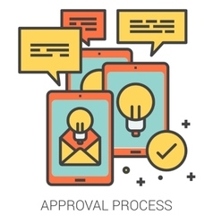 Approval process line icons vector