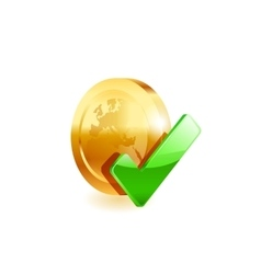 Coin and green check mark vector