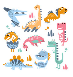 Funky stylized dinosaurs real species and vector
