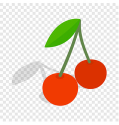 Two cherries with the leaf isometric icon vector