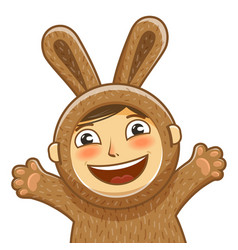Happy child in costume rabbit bunny hare cartoon vector
