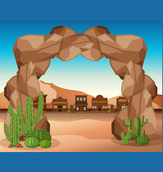 Western town with rock entrance vector